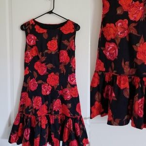 Vintage Red and Black Floral Drop Waist Dress